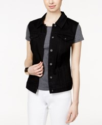 Styleandco. Style And Co. Sleeveless Denim Vest Black Black Rinse