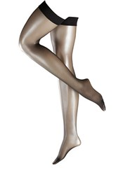 Falke Fond De Poudre 10 Stay Up Hypoallergenic Silicon Thigh High Tights Black