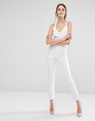 Pixie And Diamond Cross Back Jumpsuit White