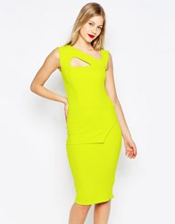 Honor Gold Midi Pencil Dress With Strappy Detail Lime Green
