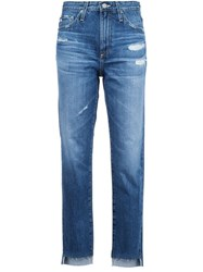 Ag Jeans Distressed Cropped Blue