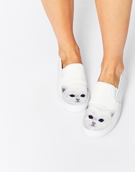 Y R U Yru Chill Kitty Slip On Plimsolls White
