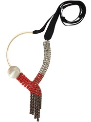 Marni Crystal Embellished Necklace Red