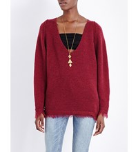 Free People Irresistible V Neck Knitted Jumper Wine