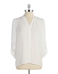 T Tahari Button Front Blouse Antique