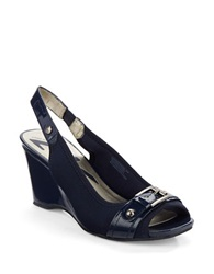 Anne Klein Perfered Slingback Wedges Navy