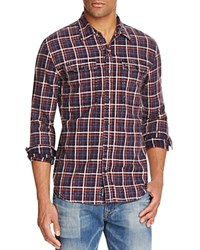 True Religion Plaid Workwear Slim Fit Button Down Shirt Navy Plaid