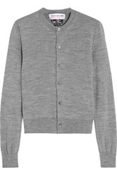 Comme Des Garcons Girl Bow Intarsia Knitted Cardigan Gray