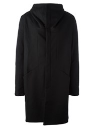 Andrea Ya'aqov Draped Funnel Neck Coat Black
