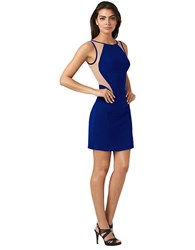 Hailey Logan Jersey Open Back Cocktail Dress Indigo Blue