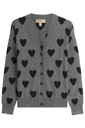 Burberry Brit Heart Print Merino Wool Cardigan Grey