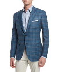 Brioni Plaid Two Button Wool Sport Coat Teal Blue