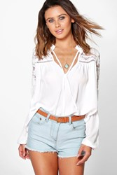 Boohoo Sally Ruffle Neck Lace Georgette Top Ivory