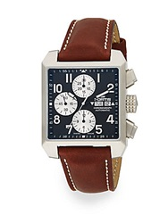 Fortis Square Chronograph Stainless Steel Leather Strap Watch