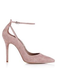 Reiss Leighton Suede Ankle Strap Court Shoe Nude