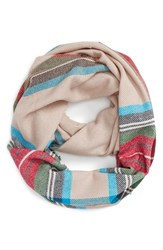 Junior Women's Bp. 'Heritage' Plaid Infinity Scarf Tan Multi