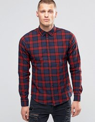 Blend Of America Slim Check Shirt Wood Red Wood Red