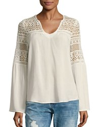 California Moonrise Lace Accented Peasant Blouse Off White