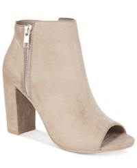 Material Girl Carena Peep Toe Booties Only At Macy's Women's Shoes Taupe