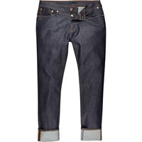 River Island Mens Dark Blue Wash Dylan Slim Turn Up Jeans