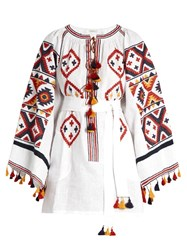 Vita Kin Fatima's Eye Embroidered Linen Dress White Multi