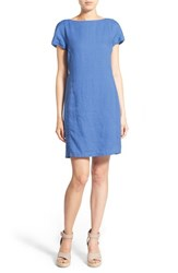 Women's Eileen Fisher Bateau Neck Organic Linen Shift Dress Blue Bell