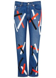 Christopher Kane Blue Tape Print Cropped Jeans Denim