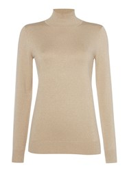 Episode Fine Knit Polo Neck Jumper Gold