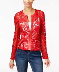 Inc International Concepts Lace Peplum Jacket Only At Macy's Glam Red