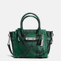 Coach Swagger 21 In Snake Embossed Leather Silver Forest
