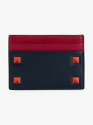 Valentino Studded Leather Cardholder Black Burgundy Brown