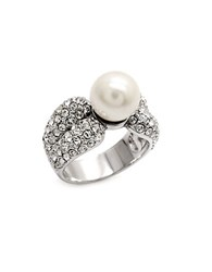 Michela Pave Crystal Faux Pearl Ring