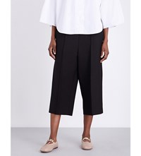 Valentino Cropped Wool And Silk Blend Trousers Blk