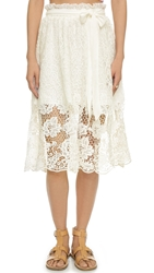 J.O.A. Lace Midi Skirt Off White