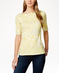 Charter Club Pima Cotton Paisley Print T Shirt Only At Macy's Sun Yellow