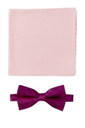 Nicole Miller Silk Striped Bow Tie And Pocket Square Boxed Set Pink