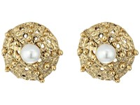 Oscar De La Renta Urchin Pearl Button P Earrings Light Gold Earring