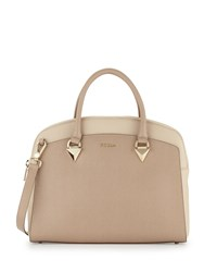 Furla Savannah Large Dome Leather Satchel Bag Luna Acero