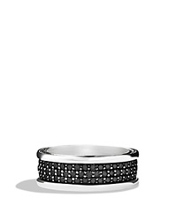 David Yurman Streamline Three Row Band Ring With Black Diamonds Silver Black