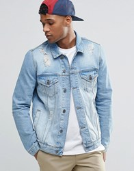 Asos Denim Jacket In Mid Wash With Rips Blue