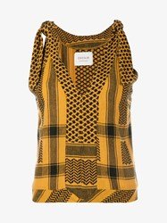 Cecilie Copenhagen Topanga Sleeveless Cotton Top Black Brown Yellow Denim