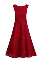 Jolie Moi Lace Bonded Fit And Flare Dress Red