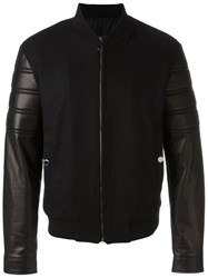 Versace Collection Contrasted Sleeve Bomber Jacket Black