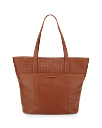 Cole Haan Sam Woven Detail Leather Tote Bag Cognac