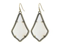 Kendra Scott Alex Earring Antique Brass White Banded Agate Earring Gold