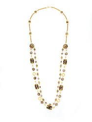 Azaara Light Colorado Topaz Swarovski Crystal Smoky Quartz And Smoky Topaz Double Layered Station Necklace Gold Multi