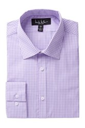 Nicole Miller Long Sleeve Modern Fit Plaid Dress Shirt Purple