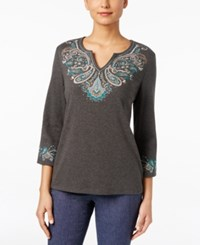 Karen Scott Three Quarter Sleeve Embroidered Top Only At Macy's Charcoal Heather