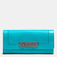 Coach Swagger Slim Envelope Wallet In Pebble Leather Dark Gunmetal Turquoise