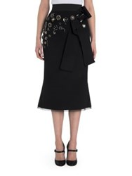 Dolce And Gabbana Button Applique Bow Detail Skirt Black